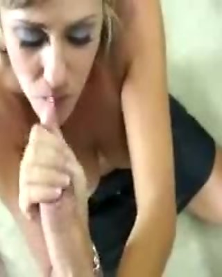 Horny milf tugging cock for lucky guy and cant get enough