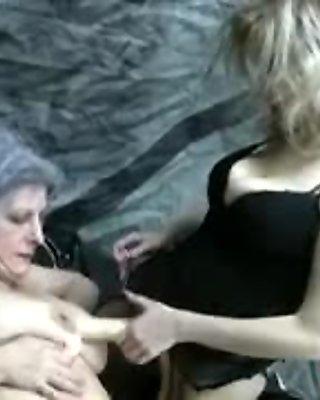 Granny v strap on lesbian