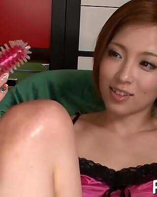 Guy touches the small tits of a skinny Japanese.