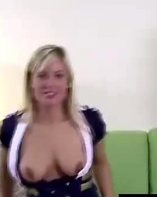 Young uniformed blonde strips for older British dude