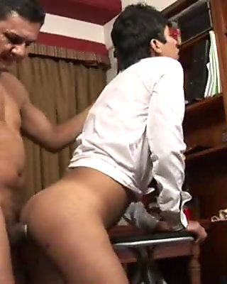 Horny twink getting fucked anally by a mature stud