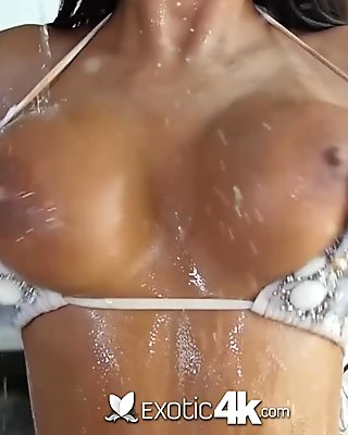 Horny redhead with jumbo jugs banging outdoors after a blowjob