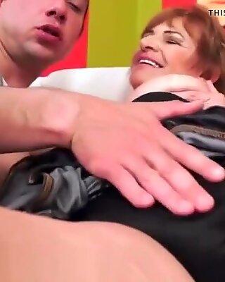Busty grandma jizzed on after fucking hard