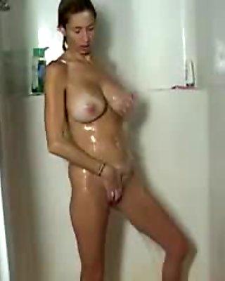 big tit milf shower