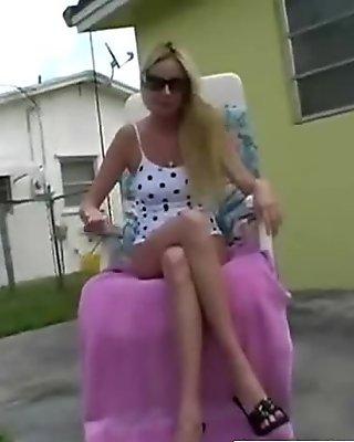 Amateur blonde on camera