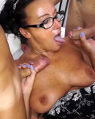 AMATEUR EURO - Amazing GangBang With DP For Sexy Mature Lady Laura Rey