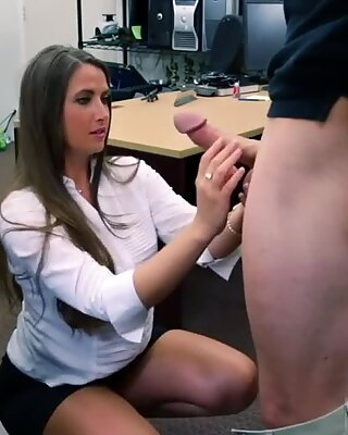 Sexy secretary sucking boss dick pov