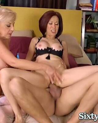 Two Hot Grannies Love Threesome Sex With Big Cock