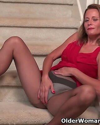 american cougar Jayden Matthews gets turned on in stockings