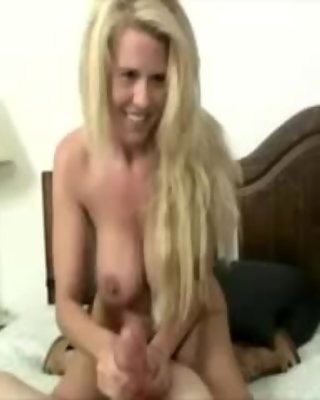 Blonde mommy is greasing guys pole