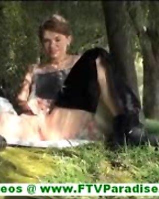 Sensi stunning brunette flashing panties and flashing pussy