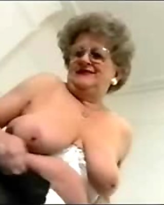 Dirty granny shows off and masturbates