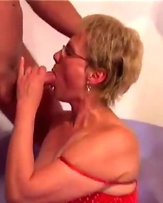 Blonde old GILF doggstyle rammed hard