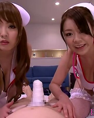 Busty asian nurses make a double titfuck