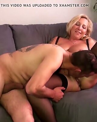 German Big natural tits Mature at Fuck Date with Younger Boy