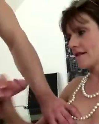 Stockinged mature bitch fucked