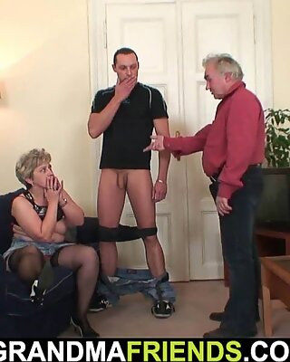 Horny grandmother in stockings