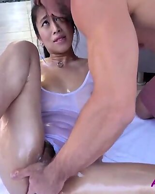 Asian Brunette Beauty Oiled &amp_ Fucked By The Pool-  Jade Kush