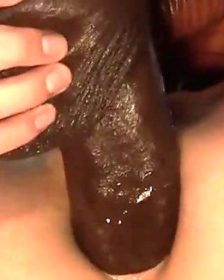 White slut anal fucks a big black cock