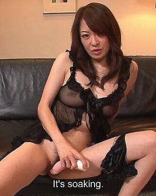 Hot and arousing Asian milf toy fucking her wet mu