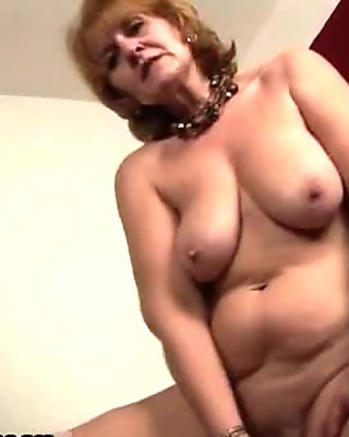 Mature blond housewife stripping