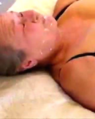 Dad cum on face of my slut mom. Stolen video