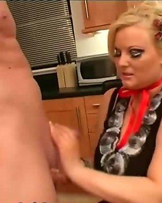 BBW MILF Kirsten Halborg Shags and Fucks British College Stud