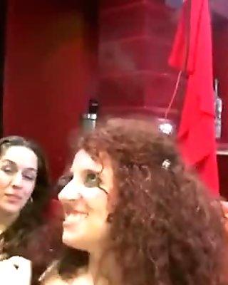 Crazy Redhead gets a Big Facial at the Stripclub